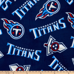 NFL Fleece Tennessee Titans Navy Blue/Red Fabric