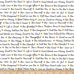 Timeless Treasures Save The Bees Bee Text White Fabric