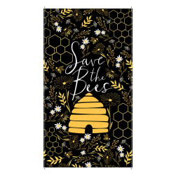 Timeless Treasures Save The Bees Hive 24'' Panel Black Fabric