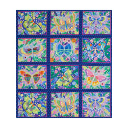 Wonderland Butterfly Blocks 36'' Panel Navy Fabric