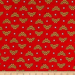 Wonder Woman 1984 Collection WW84 Logo and Stars Flannel Red Fabric