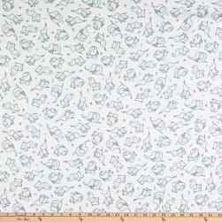 Flannel Elephant Dotted Rose Blue Fabric