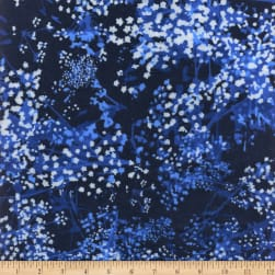 """108"""" Extra-Wide Flannel Abstract Foliage Navy"""