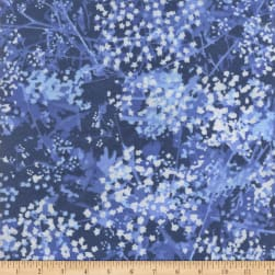 108'' Wide Back Flannel Abstract Foliage Blue Fabric