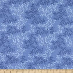 108'' Flannel Leaves Colony Blue Fabric