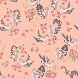 Art Gallery Hello Ollie Feathered Fellow Blush Fabric