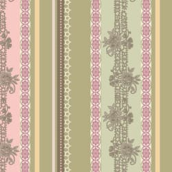 Art Gallery Dashing Roses Palm Lace Ribbons Fabric