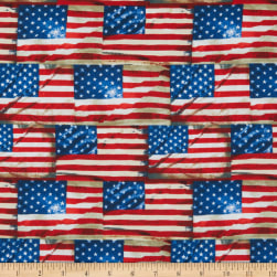 Timeless Treasures We The People Packed Flags Multi