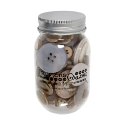 Buttons Galore Buttons in Mason Jar Smokey Greys