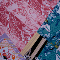 Fabtrends Ity Floral Patchwork Blush Denim Fabric