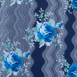 Fabtrends Ity With Puff Wavy Floral Navy Denim Fabric
