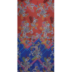 Fabtrends Ity Single Border Paisley Coral Blue Fabric