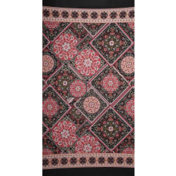 Fabtrends Ity Double Border Bandana Black Red Fabric