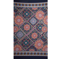Fabtrends Ity Double Border Bandana Blue Red Fabric