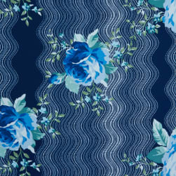 Fabtrends Mohana Wavy Floral Navy Denim Fabric