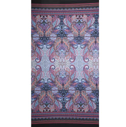 Fabtrends Ity Double Border Paisley Coral Sky Fabric