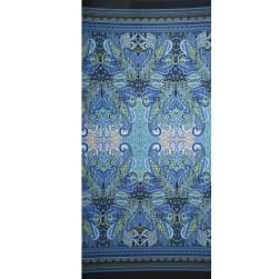 Fabtrends Ity Double Border Paisley Denim Lime Fabric