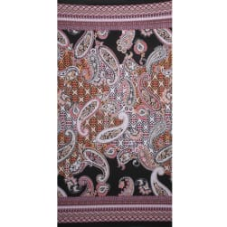 Fabtrends Ity With Puff  Border Bandana Paisley Black Coral Fabric