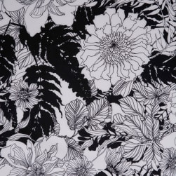 Fabtrends Langham Twill Floral Offwhite Black