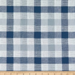 Yarn Dyed Plaid Linen Gauze Navy/White