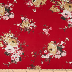 ITY Stretch Knit Floral Red Fabric