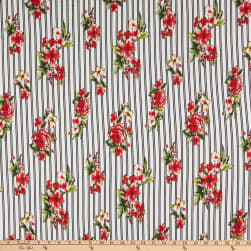 Double Brushed Stretch Jersey Knit Double Stripe Floral White/Red Fabric