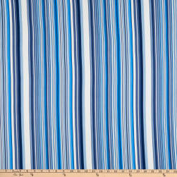 Brushed Stretch Jersey Knit Stripes Blue/White Fabric