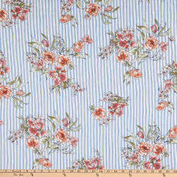 Double Brushed Stretch Jersey Knit Floral Blue/White Fabric