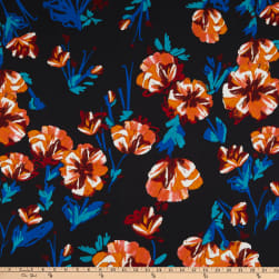 Double Brushed Stretch Jersey Knit Floral Black Fabric
