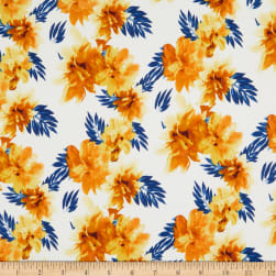Brushed Stretch Jersey Knit Floral White/Yellow/Blue