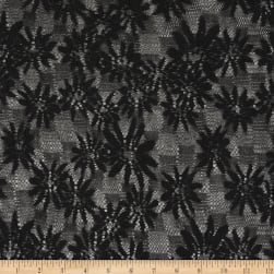 Crochet Lace Knit Floral Black Fabric