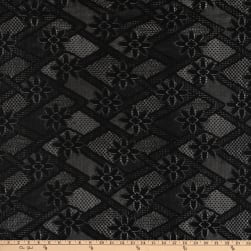 Crochet Lace Knit Diamonds Floral Black Fabric