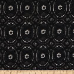 Crochet Lace Woven Geometric Black Fabric