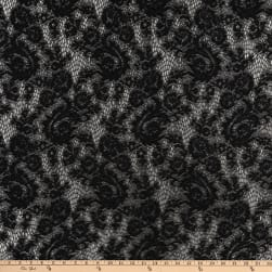 Crochet Lace Knit Small Floral Black Fabric