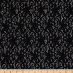 Crochet Lace Woven Small Floral Black Fabric