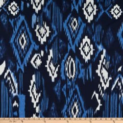 Poly Rayon Stretch Jersey Knit Abstract Blue/White Fabric