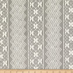 Crochet Lace Knit Polyester/Cotton Chevron Floral Cream Fabric