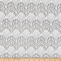Crochet Lace Knit Polyester/Cotton Abstract White Fabric