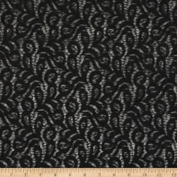 Crochet Lace Knit Polyester/Cotton Abstract Black Fabric