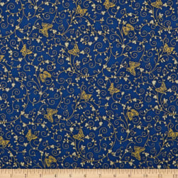 Kaufman Bella Mariposa Butterflies And Swirls Metallic Indigo