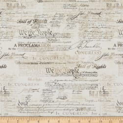 Timeless Treasures Patriot Antique Bill Of Rights Natural