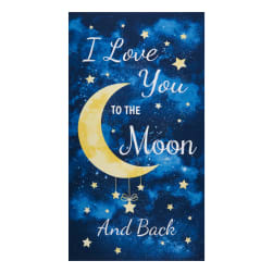 Timeless Treasures I Love You To The Moon And Back 24'' Panel Navy Fabric
