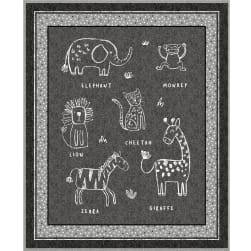 Michael Miller Out Of Africa Wild Bunch 36'' Panel Black Fabric