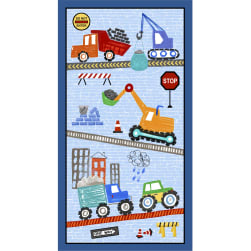 Michael Miller Diggers and Dumpers Roadwork Ahead 24'' Panel Blue Fabric