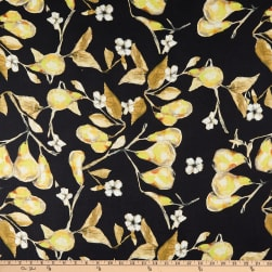 Telio Digital Linen Pear Print Black  Fabric