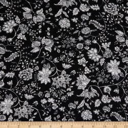 Fabtrends Stretch ITY Jersey Knit Puff Floral Black/White Fabric
