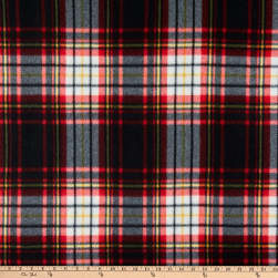 Polar Fleece Wyatt Black/White/Red Fabric