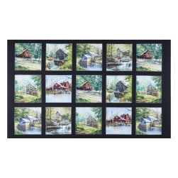 The Old Mill Stream 24'' Panel Black Fabric