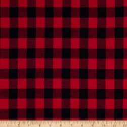 Yarn Dyed Flannel Small Buffalo Check Red  Fabric