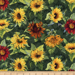 Wilmington Flowers of the Sun Large Sunflowers Green Fabric